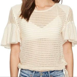 ⭐️Free People crochet Lace Shirt Women's Sz XS ⭐️